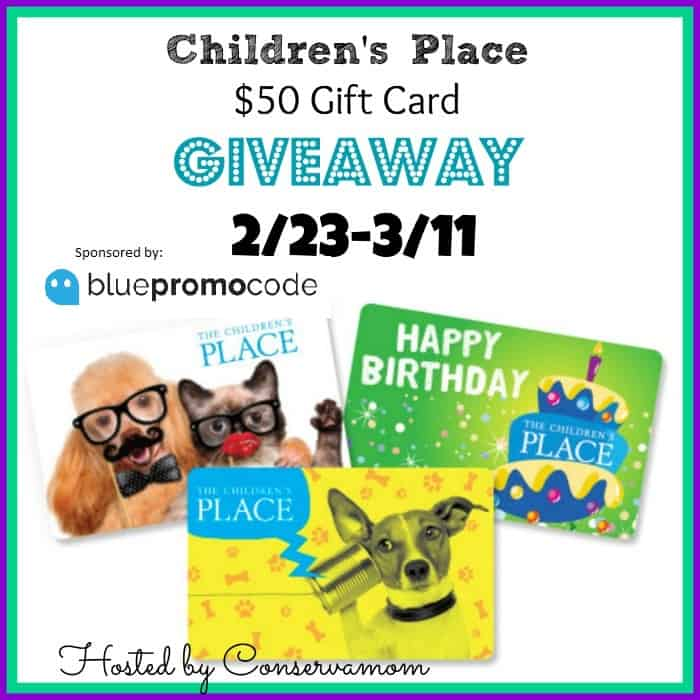$50 Children's Place Gift Card Giveaway ends 3/11