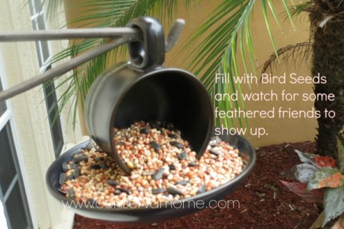Upcycled craft : teacup bird feeder