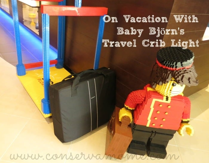 On Vacation with Baby Bjorn Travel Crib Light