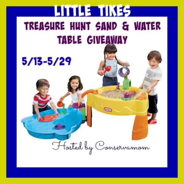 Enter the Little Tikes Treasure Hunt Sand & Water Table Giveaway. Ends 5/29