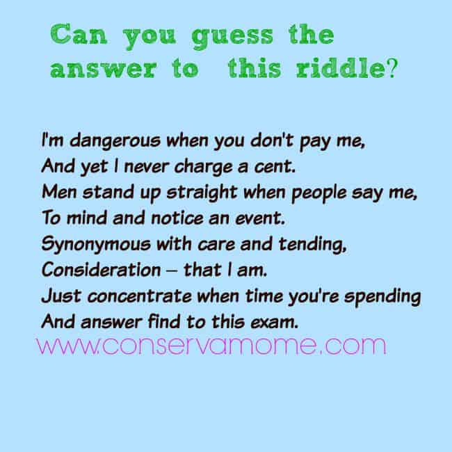 ConservaMom - Riddle of The day - ConservaMom