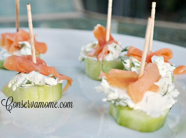 Smoked Salmon Cucumber bites - Low carb appetizer