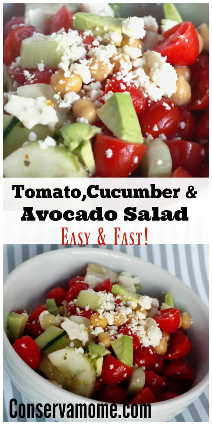 Tomato Cucumber Avocado Salad - ConservaMom