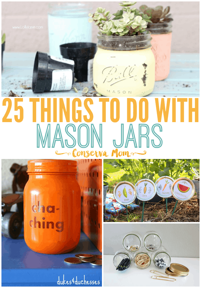 Mason Jars aren't just for storage! Here's a round up of 25 things to do with mason jars from traditional to non traditional uses. This is fun round up of Mason Jar Decor ideas & functions.