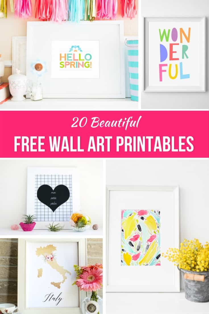 Decorating your home doesn't have to be expensive, as a matter of fact thanks to this round up of 20 Beautiful Free Wall Art Printables it can be free! So check out this great round up of Free Printables.