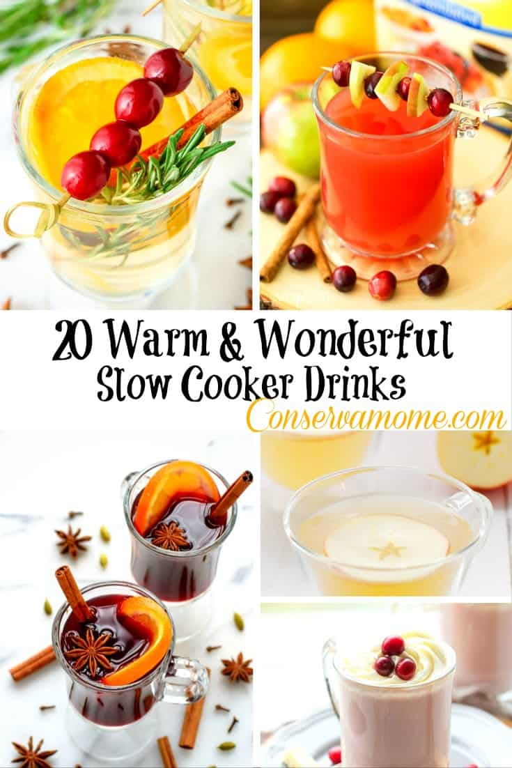 There's nothing more delicious than sitting down on a cold, crisp day with some warm delicious drinks. Here's a round up of20 Warm & Wonderful Slow Cooker Drinks that will hit the spot :)