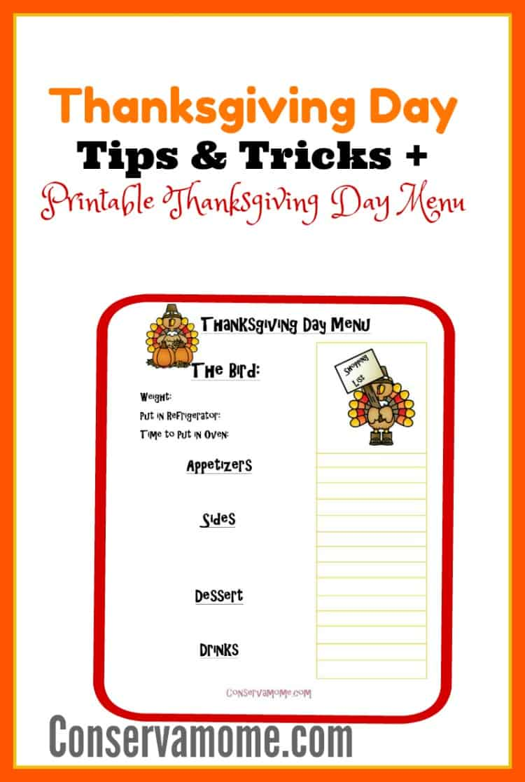 Simplify your Thanksgiving Prep with these Thanksgiving Day Tips & Tricks + Printable Thanksgiving Day Menu.
