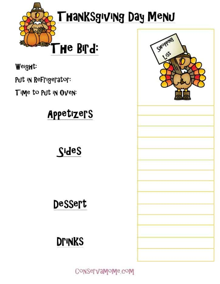 Printable Thanksgiving Day Menu