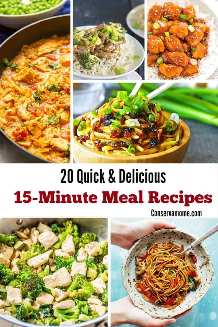 20 Quick Delicious 15 Minute Meal Recipes Conservamom