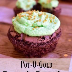 Pot-O-Gold Brownie Cupcakes
