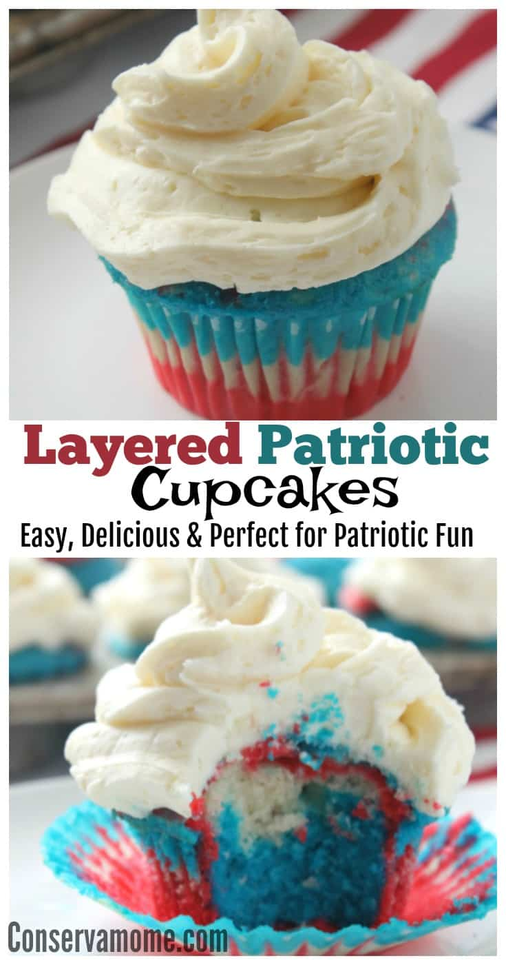 Patriotic Cupcake recipe, Red White and Blue Cupcakes with butter cream frosting