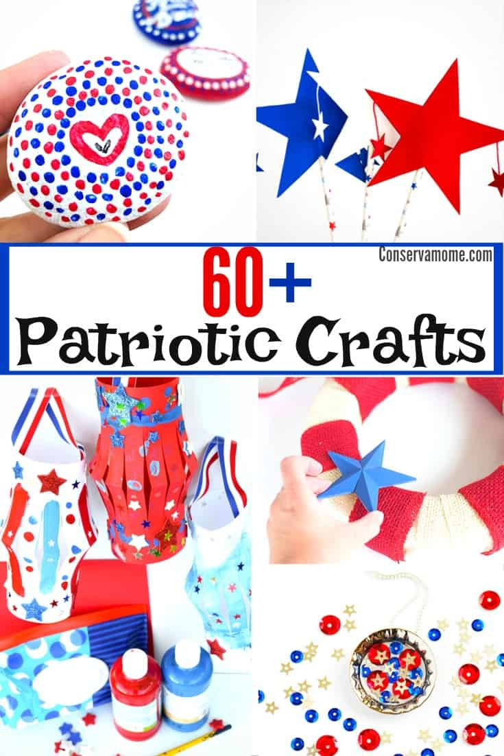 This round up of 60+ Patriotic Crafts is perfect for any National Holiday. Includes lots of fun for kids, adults and kids at heart. Perfect for Fourth of July, Veterans day and more!