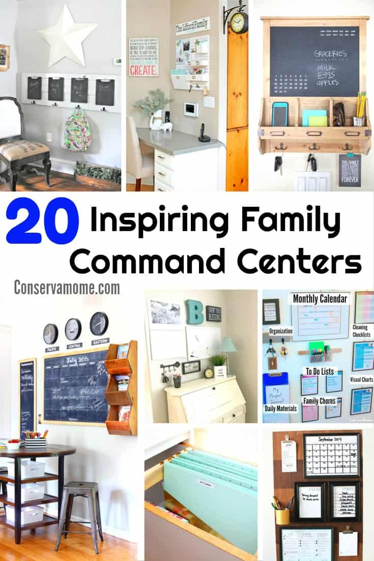 Are you looking for ways to get your family activities organizad? Here are 20 Inspiring Family Command Centers to help you get everyone where they need to on time.  | Organization ideas