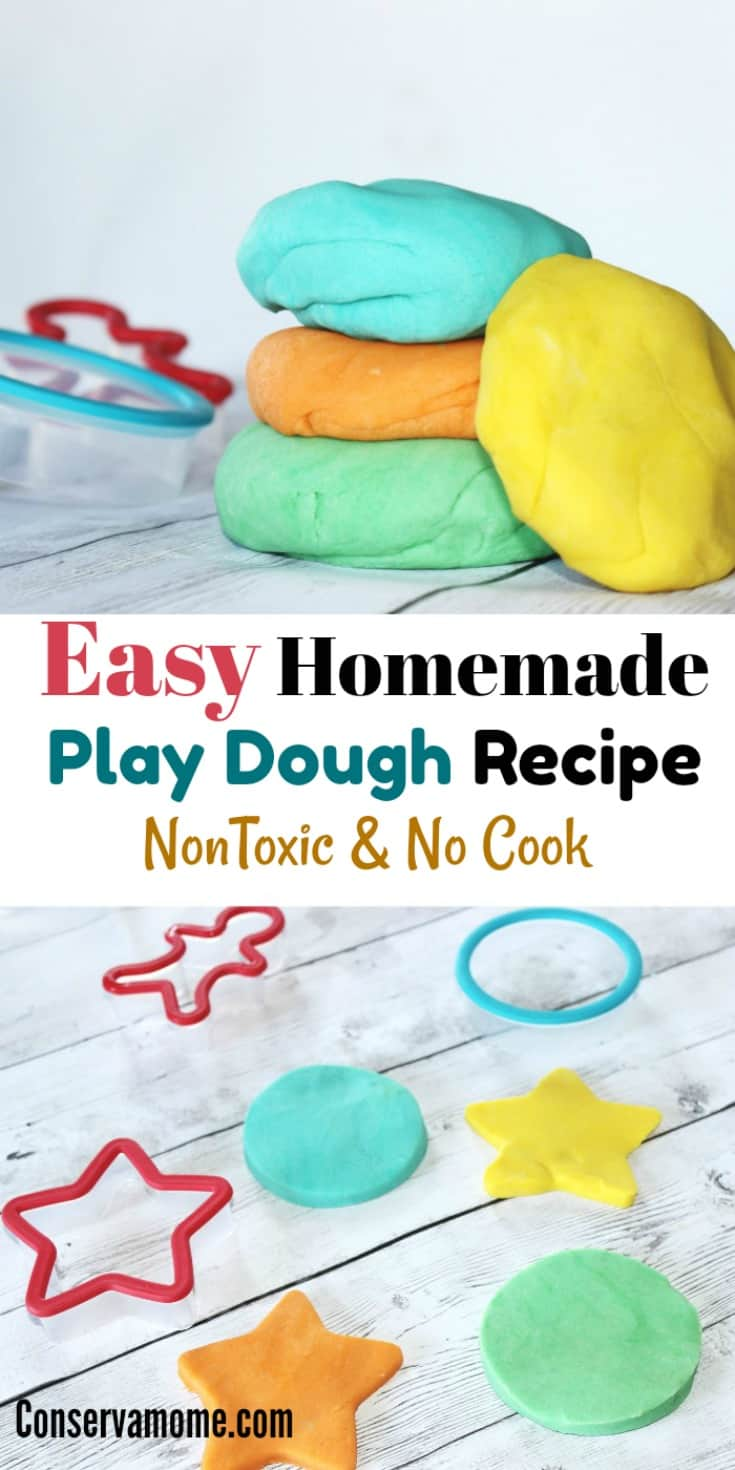 Kids love to get creative with Play dough. Here's your chance to make an Easy Homemade Play Dough Recipe that is also Non Toxic & No Cook!  Check out the hours of fun your kids will have with this fun recipe!