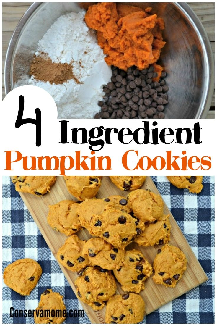 These delicious 4 Ingredient Pumpkin Cookies will be a delicious addition to your Fall recipe list. Easy to make and so addictive to eat, you won't just be able to have one! #fallcookies #pumpkincookies #