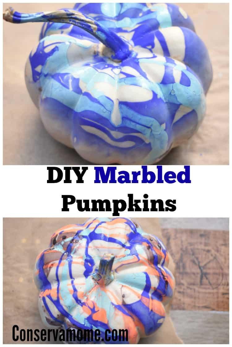 DIY Marbled Pumpkins :Fall pumpkin painting.