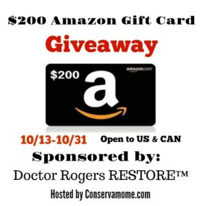 $200 Amazon Gift Card Giveaway ends 10/31