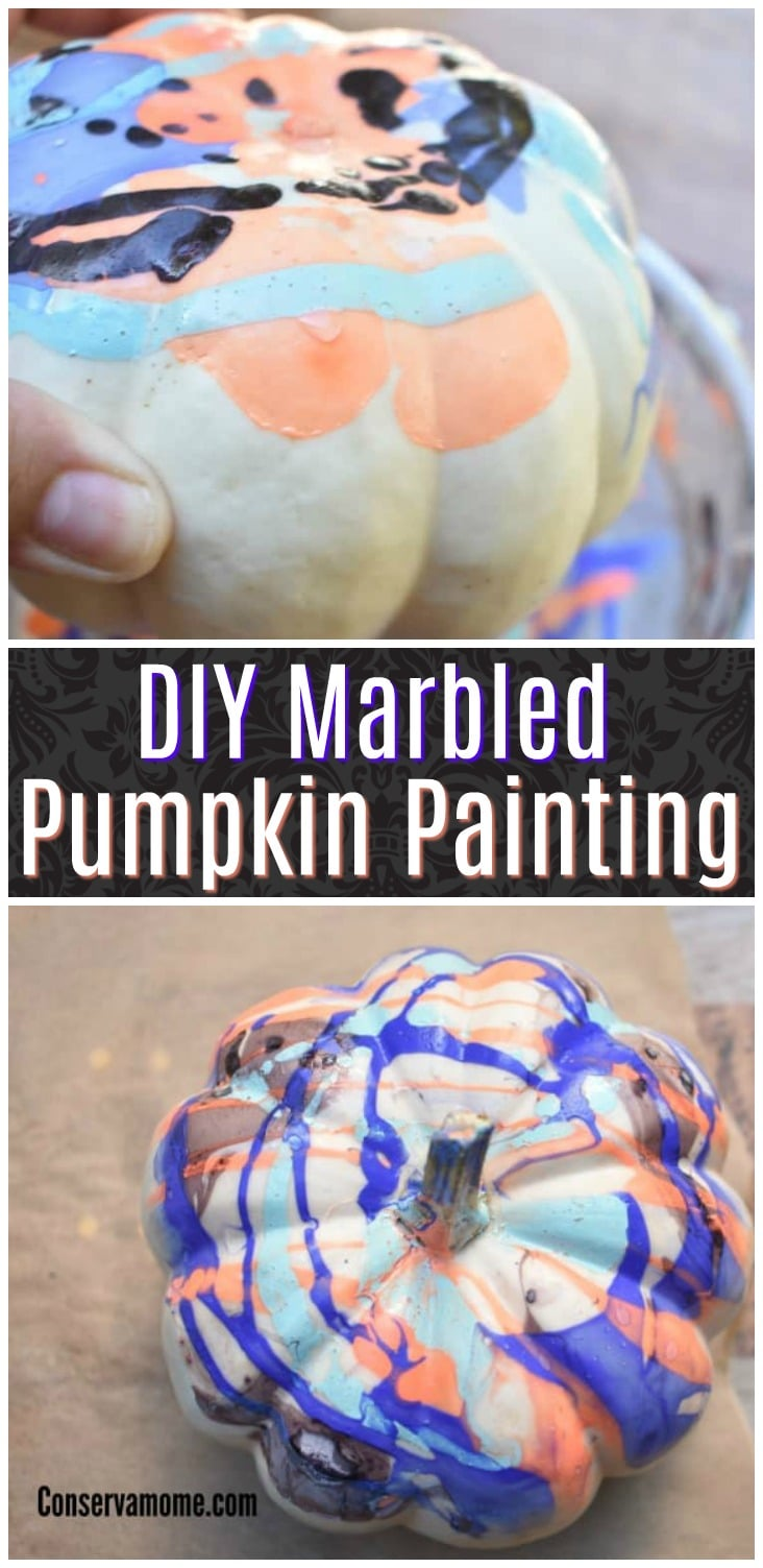 Marbled pumpkin painting