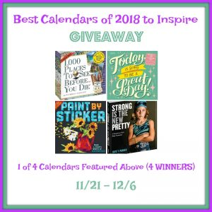 Best Calendars of 2018 Giveaway ends 12/6
