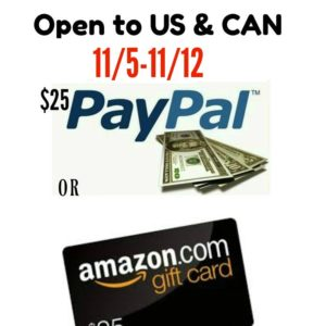 $25 Amazon or Paypal Cash Pick Your Prize Giveaway ends 11/12