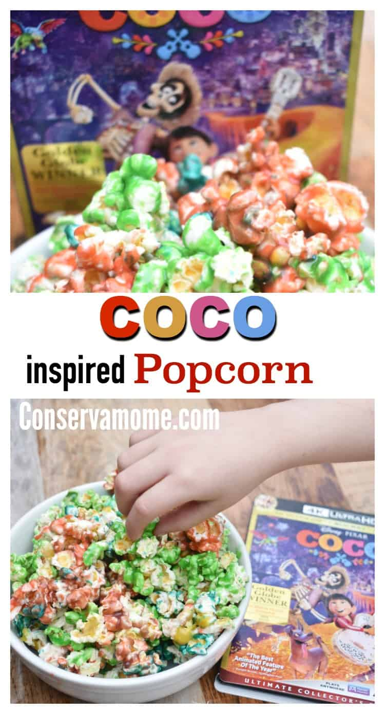 Did you know Disney•Pixar's COCO is coming to Blu-ray & DVD soon? Check out more info on this fun movie and most important check out this delicious Coco Inspired Popcorn recipe that's the perfect addition to your movie watching experience!