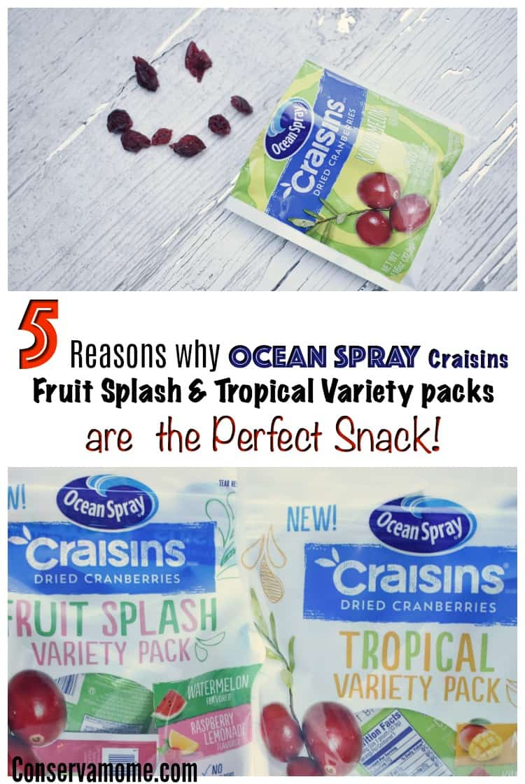 Finding the perfect snack just got easier! Check out 5 Reasons why  NEW Ocean Spray Craisins Fruit Splash and Tropical Variety Are the Perfect Snack!