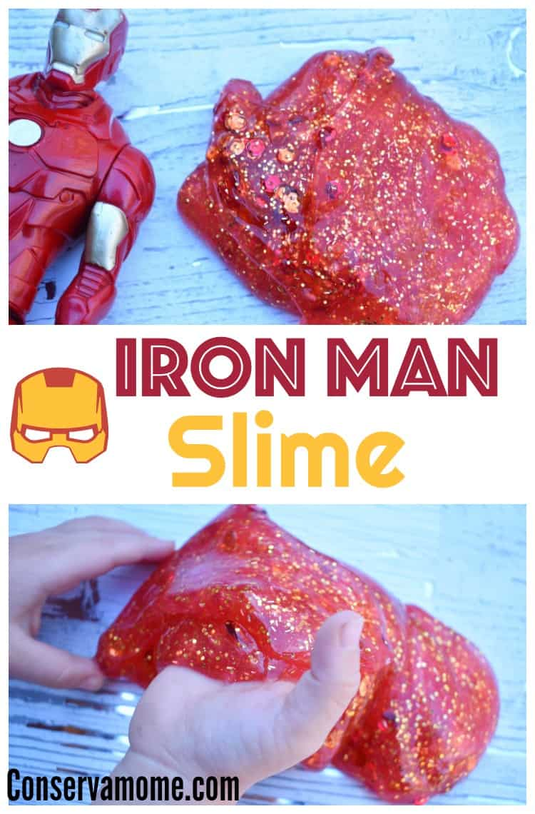 This fun Iron Man Slime recipe will be the perfect sensory play for our little avenger. Check out how easy it is to make!