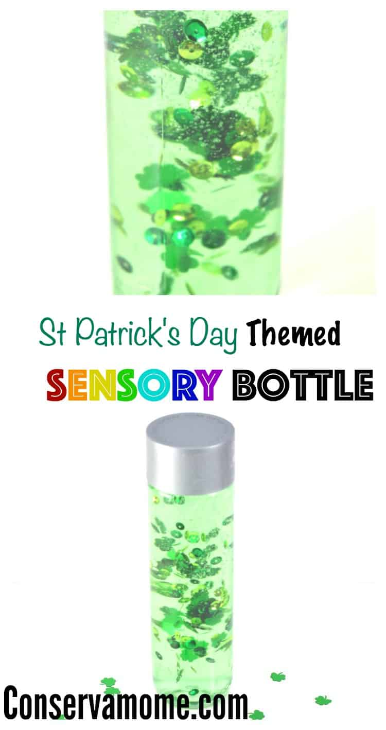 This St.Patrick's Day Themed Sensory Bottle Tutorial will give your little ones (or big ones) hours of soothing fun. Check out how easy it is to make this sensory bottle!