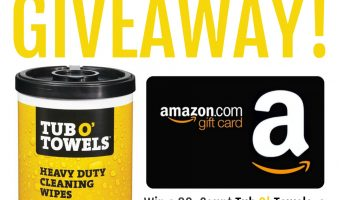 Enter to win a $50 Amazon Gift Card with Tub O'Towels ends 8/14