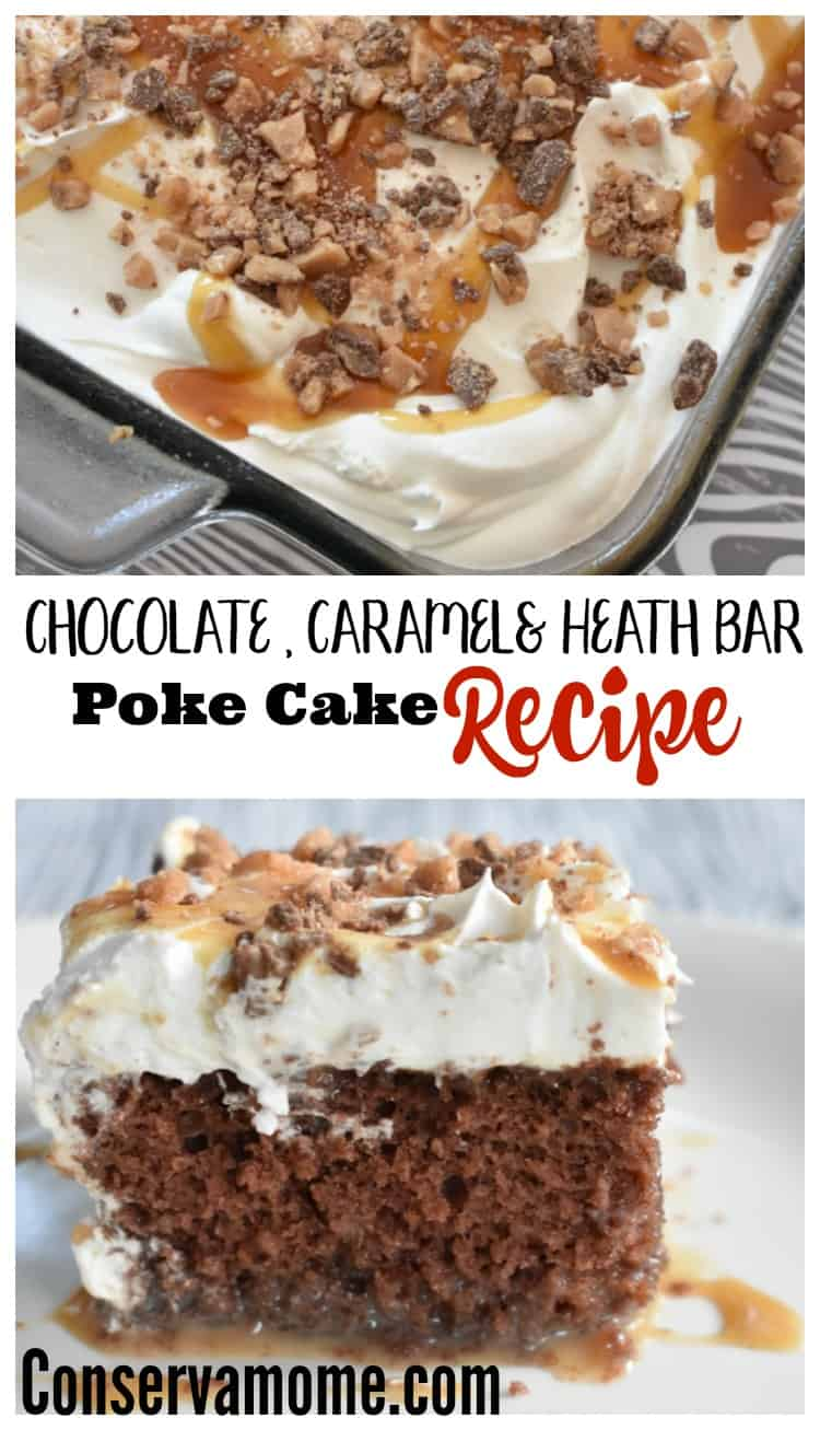 This is the easiest cake recipe you'll ever get your hands on and probably one of the most delicious. Check out this amazing Chocolate & Caramel Heath Bar Poke Cake Recipe