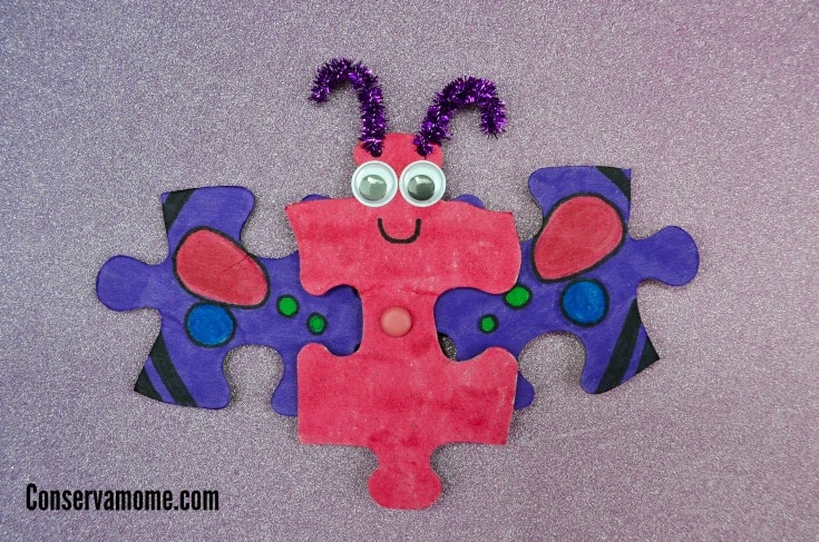 Butterfly Puzzle Craft with Flapping wings- An Easy Spring Craft!