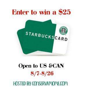 $25 Starbucks Gift Card giveaway ends 8/26