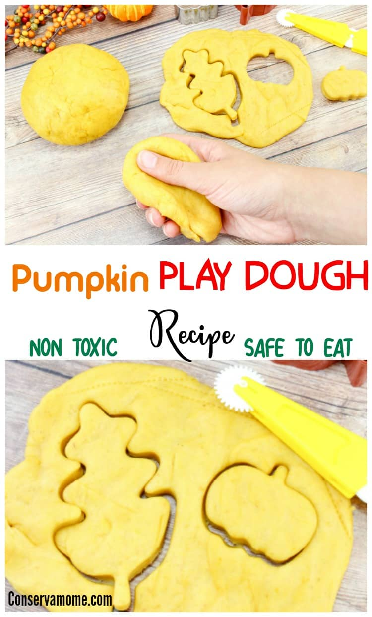 This fun Non Toxic Pumpkin Play dough recipe will give your little one some fall fun along with some great sensory play! Best of all it's safe to eat so you can use it with your smallest little explorers!