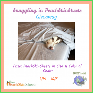 Snuggling in PeachskinSheets Giveaway ends 10/5