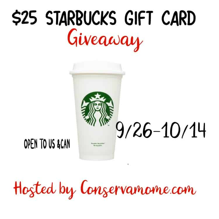 Enter to win a $25 Starbucks Gift Card. Open to US &CAN