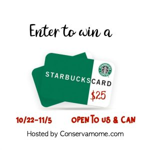 $25 Starbucks Gift card Giveaway ends 11/5