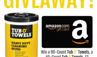 Tub O'Towels + $50 Amazon Gift card Giveaway ends 10/16