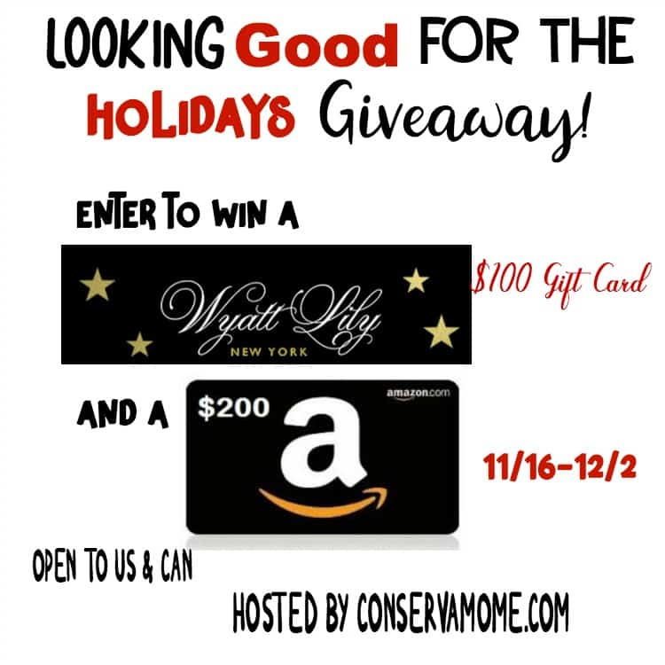 Looking Good for The Holidays Gift Card Giveaway ends 12/2 Enter to win a $200 Amazon gift card and a $100 Wyatt Lily Gift card.