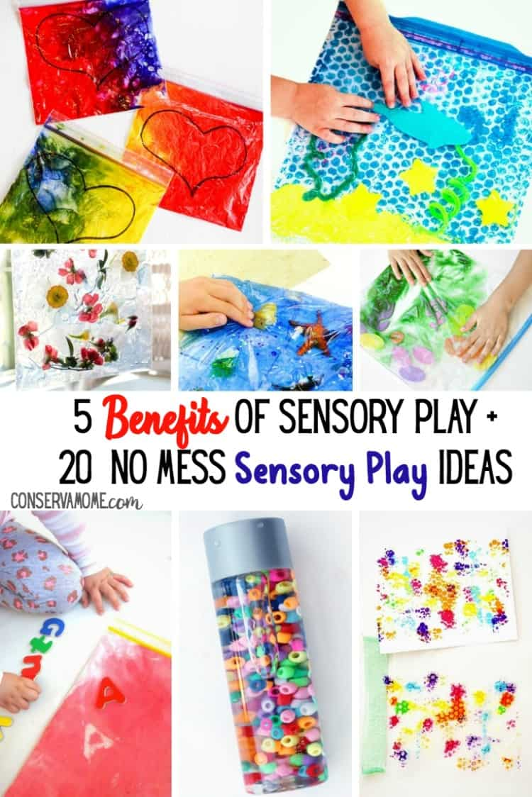 Sensory Play is very important for a child's development. Check out 5 Benefits of Sensory play + 20 No Mess Sensory Play Ideas.