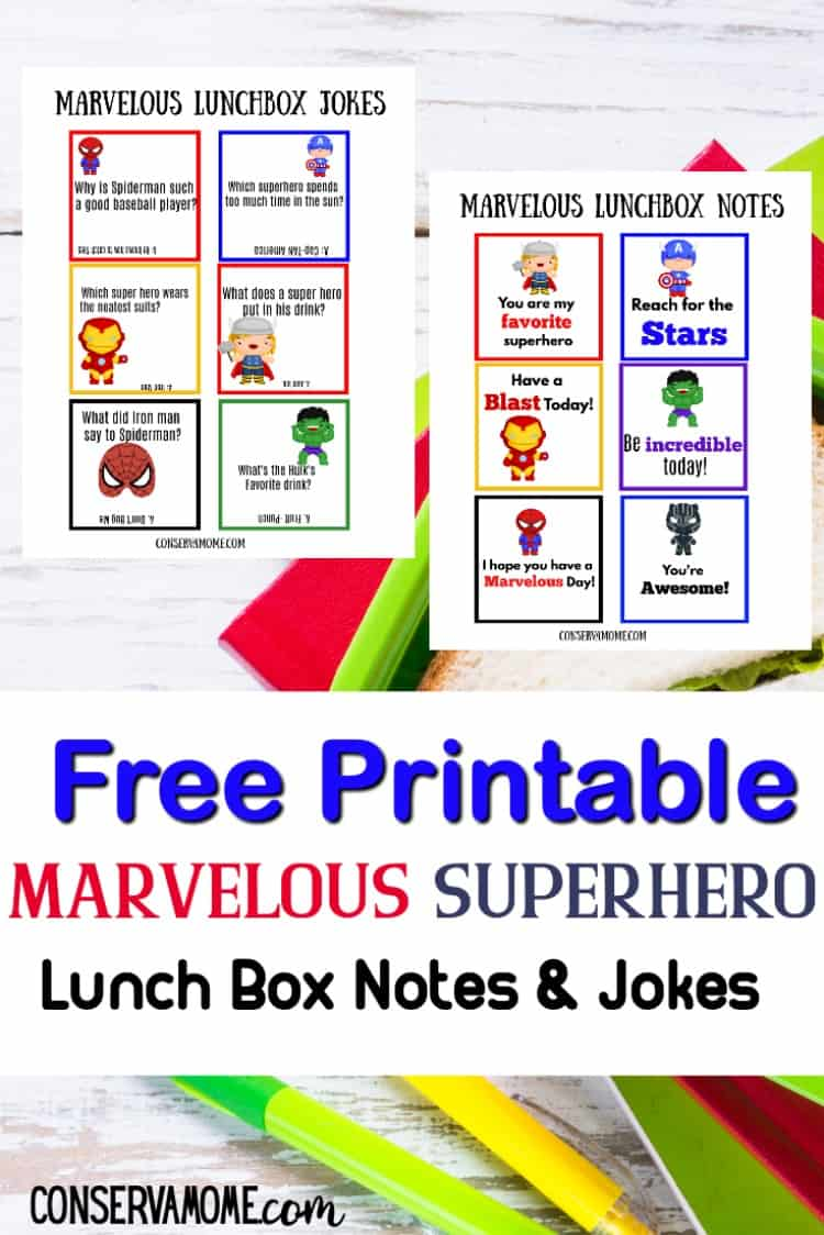marvel themed printable superhero lunch box notes