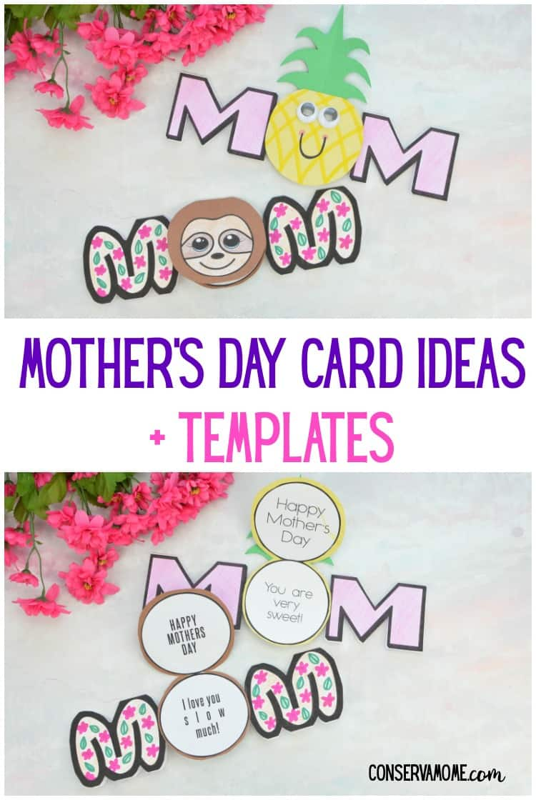 Mom's love homemade cards! Here are some great and easy Mother's Day Card ideas with Templates to create a fun mother's day card Mom will treasure forever! You'll find out how to make a Pineapple Mother's Day card & a Sloth mother's day card.