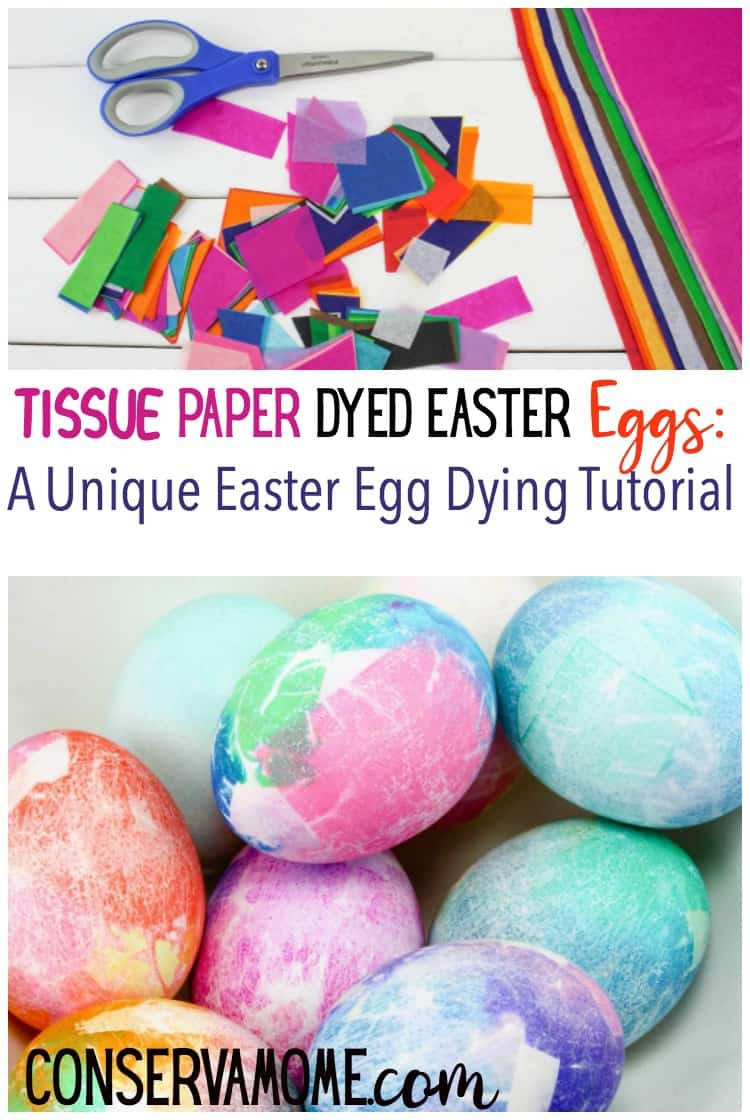 Check out this fun new way to dye Easter eggs! This Tissue Paper Dyed Easter Eggs is  A Unique Easter Egg Dying Tutorial.
