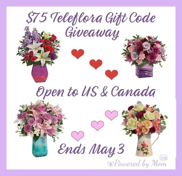$75 Teleflora Gift Code Giveaway ends May 3rd