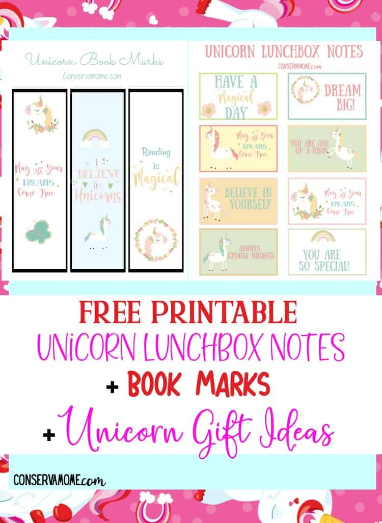 photo regarding Printable Lunchbox Notes named ConservaMom - No cost Printable Unicorn LunchBox Notes + Ebook