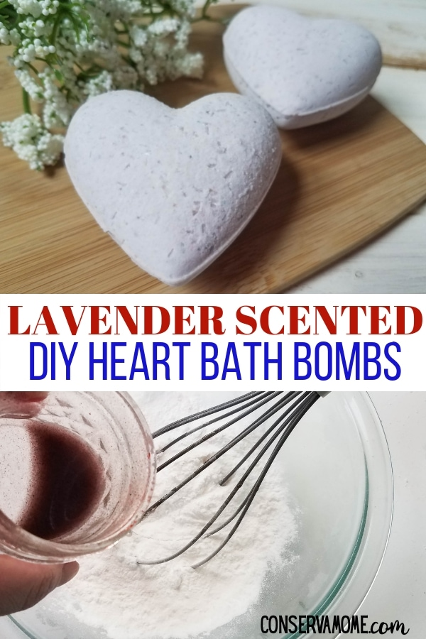 Lavender scented DIY heart bath bombs