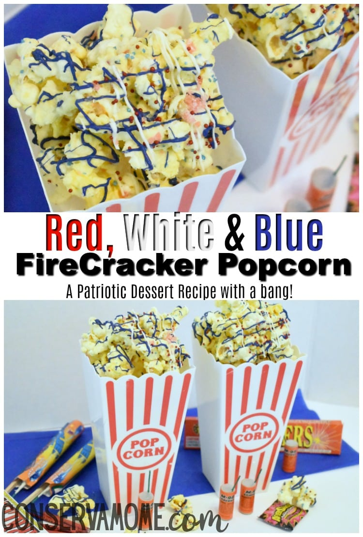 red, white and blue firecracker popcorn that pops