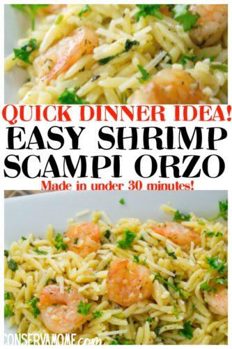 Easy Shrimp scampi orzo