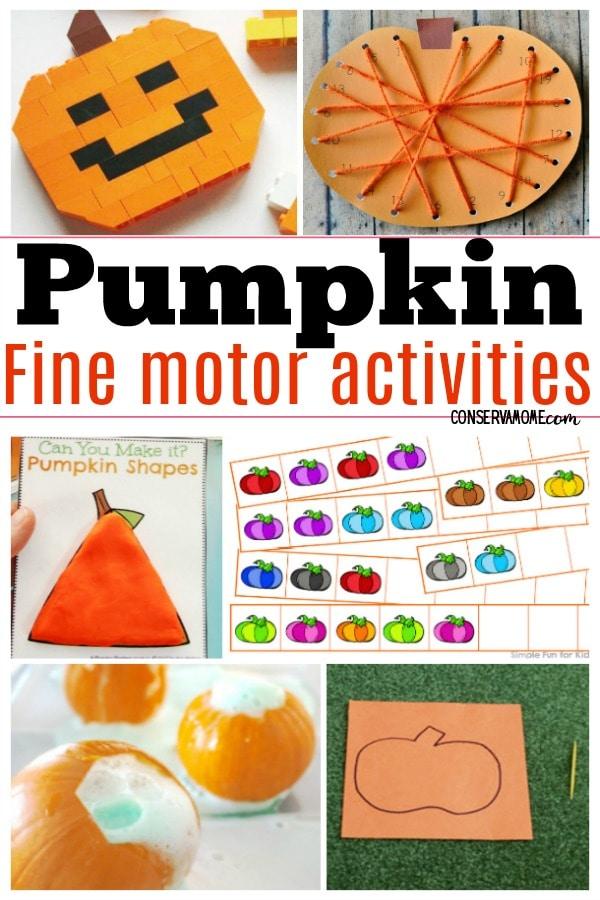 Pumpkin fine motor activities
