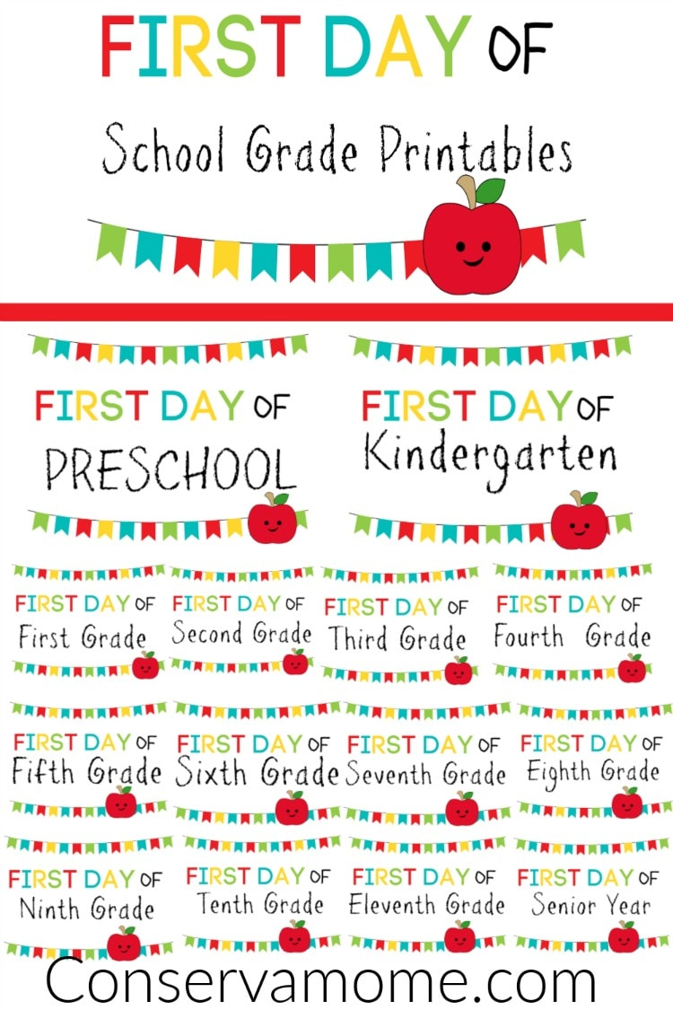 photograph regarding First Day of Preschool Free Printable called ConservaMom - No cost Printable Initially Working day of University Signs or symptoms PreK