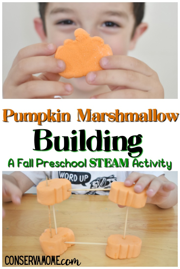 Pumpkin Marshmallow Building: A fall Preschool STEAM activity